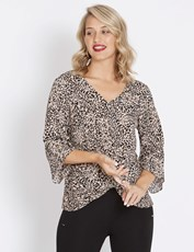 Table Eight 3/4 Sleeve Twist Front Leopard Blouse MULTI