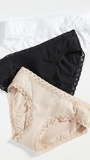 Natori Bliss Girl Briefs 3-Pack Black/Cafe/White