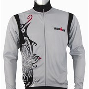 Ironman Activewear Ironman Long Sleeve Unisex Cycle Jersey - Silver/Black