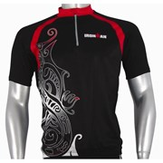 Ironman Activewear Ironman Short Sleeve Unisex Cycle Jersey - Black/Red