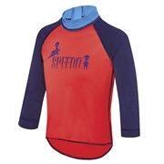 Speedo Logo Toddler Boys Long Sleeve Swimming Sun Top - Fire/Galaxy Zap