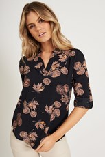 Caroline Morgan Vienna Blouse in Charcoal with Apricot Floral