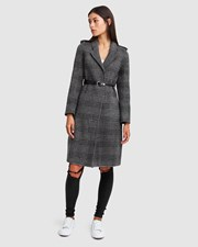 Belle & Bloom Jealousy Belted Wool Blend Coat Charcoal