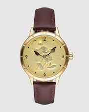 Disney Mickey Gold Sculpted Dial Watch Gold