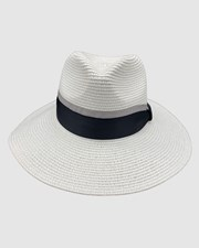 Jacaru Jacaru 1867 White Panama Hat Ribbon Grey
