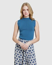 Oxford Rebecca Sleeveless Knit Petrol blue