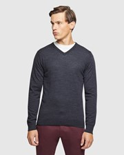 Oxford V-neck Pure Merino Wool Pullover Charcoal