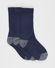 Sof Sole SofSole 3-Pack School Cushion Crew Socks - Kids Navy