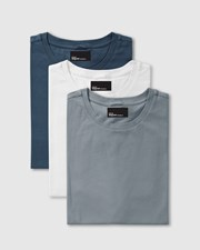 WAYVER The Essential Crew Tee 3-Pack Vintage Indigo, White & Steel