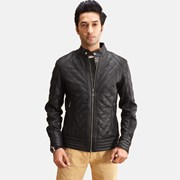 The Jacket Maker Henry Quilted Black Leather Jacket