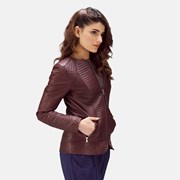 The Jacket Maker Nexi Quilted Maroon Leather Jacket