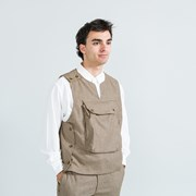 Engineered Garments Cover Vest - Brown Wool Poly Gunclub Check