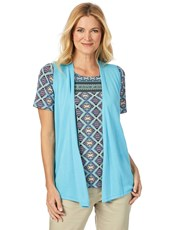 W.Lane Sleeveless Drape Cardigan TURQUOISE