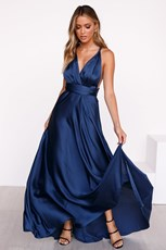 Angel Biba The Perfect Date Satin Maxi Dress (Navy)