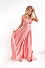 Angel Biba The Perfect Date Satin Maxi Dress (Rose)
